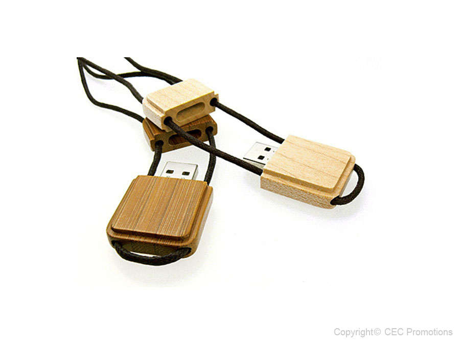 eckiger usb stick mit kordel aus holz mit logo. Black Bedroom Furniture Sets. Home Design Ideas