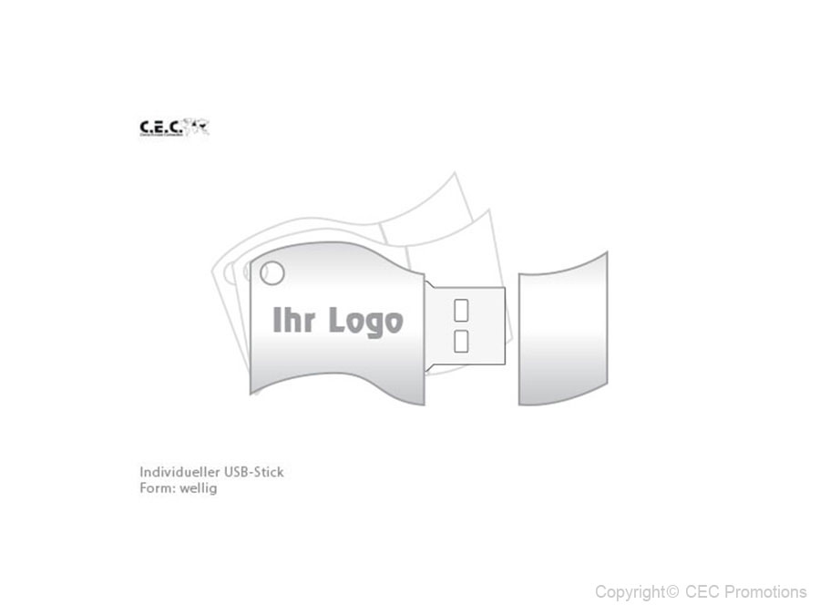 USB-Stick Logo wellig