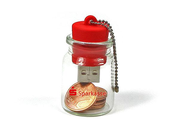 USB-Stick im Glasbehälter, Flaschenpost