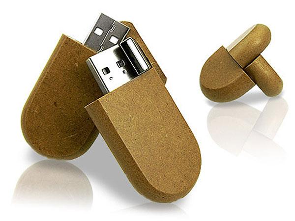 Runder Holz USB-Stick aus Pressspan