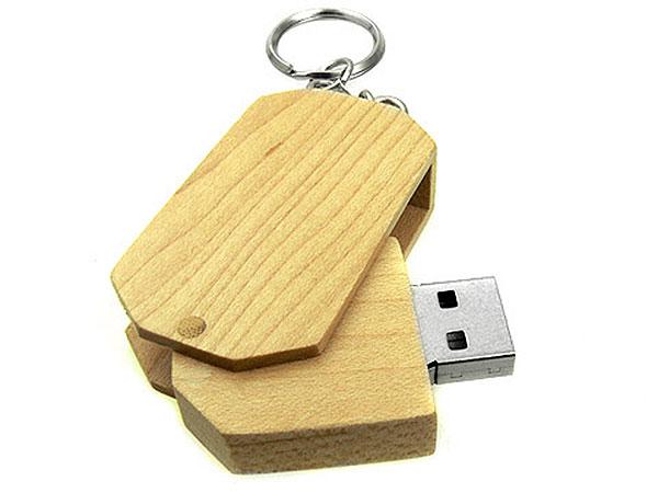 Sechseckiger Holz USB-Stick, herausdrehbar
