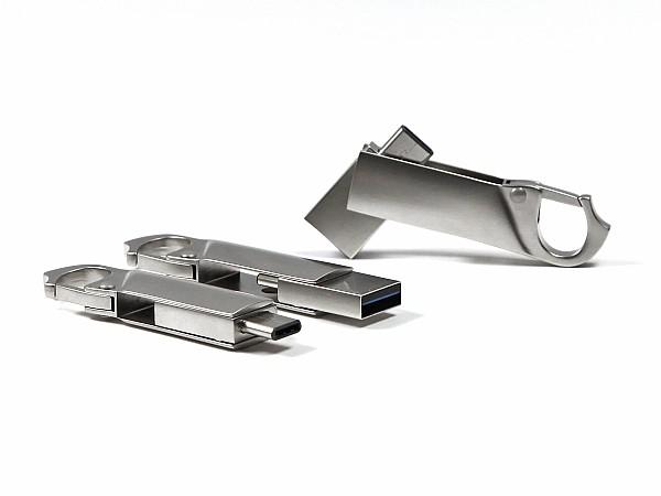 USB Karabiner mit USB Typ-C Stecker als Werbegeschenk