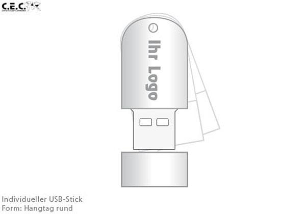 USB-Stick als Hangtag halbrund