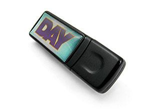 USB Stick aus Kunststoff m. Doming-Sticker, Doming.06