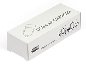 Bedruckte Carcharger Faltschachtel als Geschenkverpackung