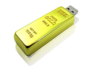 Fun USB-Stick in Goldbarrenform, Goldbarren USB Stick, gold