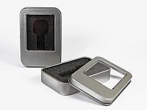 Metalldose mit Sichtfenster für USB Sticks