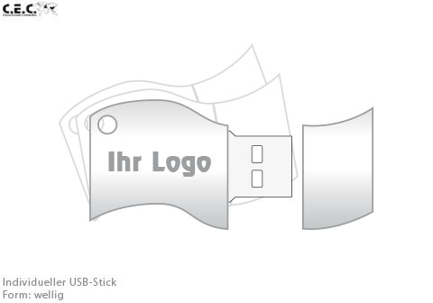 Welliger USB-Stick als Logo