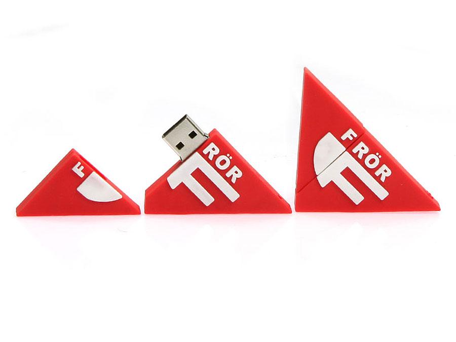 logo dreieckig, USB-Stick Sonderanfertigung Logo Frör rot, CustomLogo, PVC