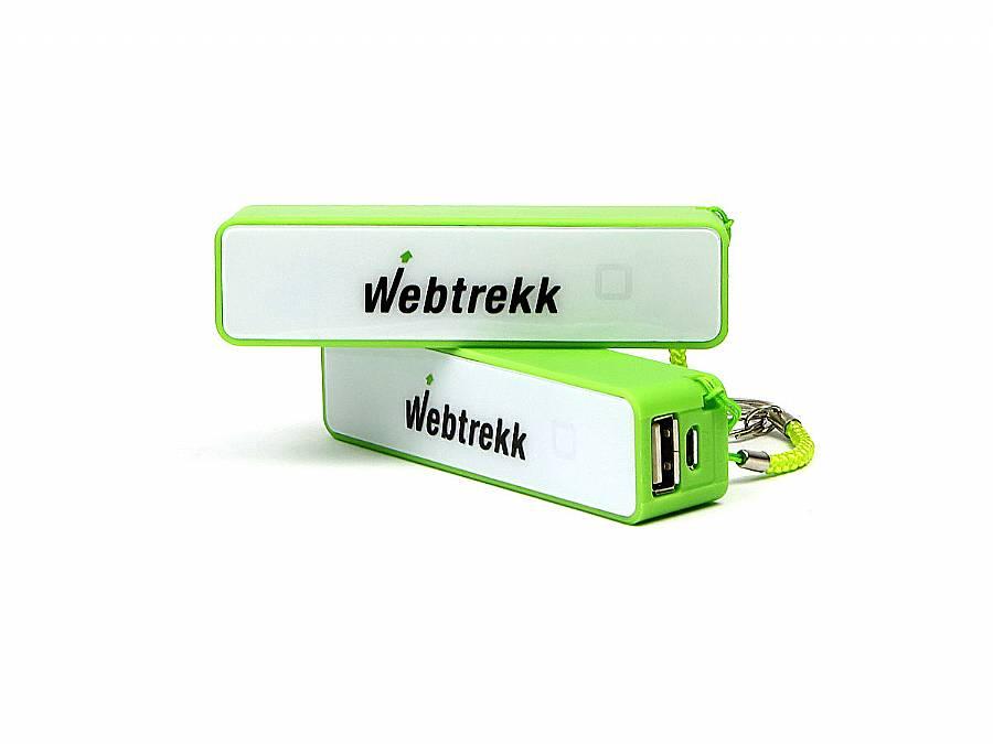 Powerbank Powerbrick Giveaway gruen bedruckt Webtrekk