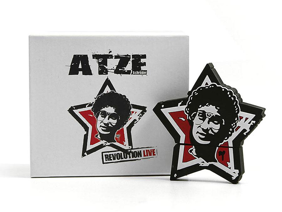 usb-stick-logo-freiform-100.html, Atze Schröder Stern Fanartikel Merchandise USB-Stick sonderanfertigung, CustomLogo, PVC