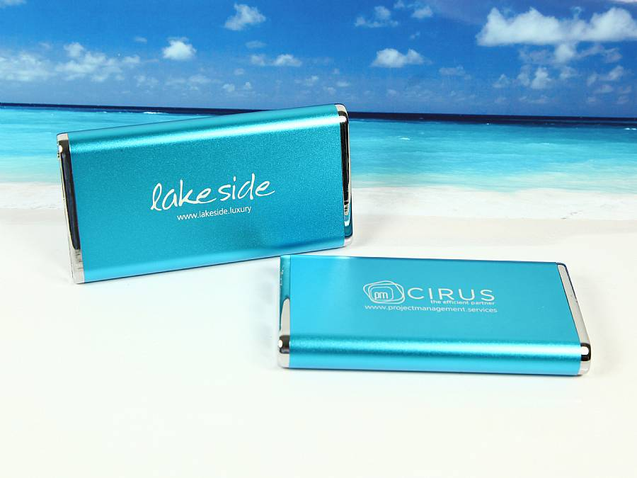 powerbank business blau gravur türkies lake meer see logo