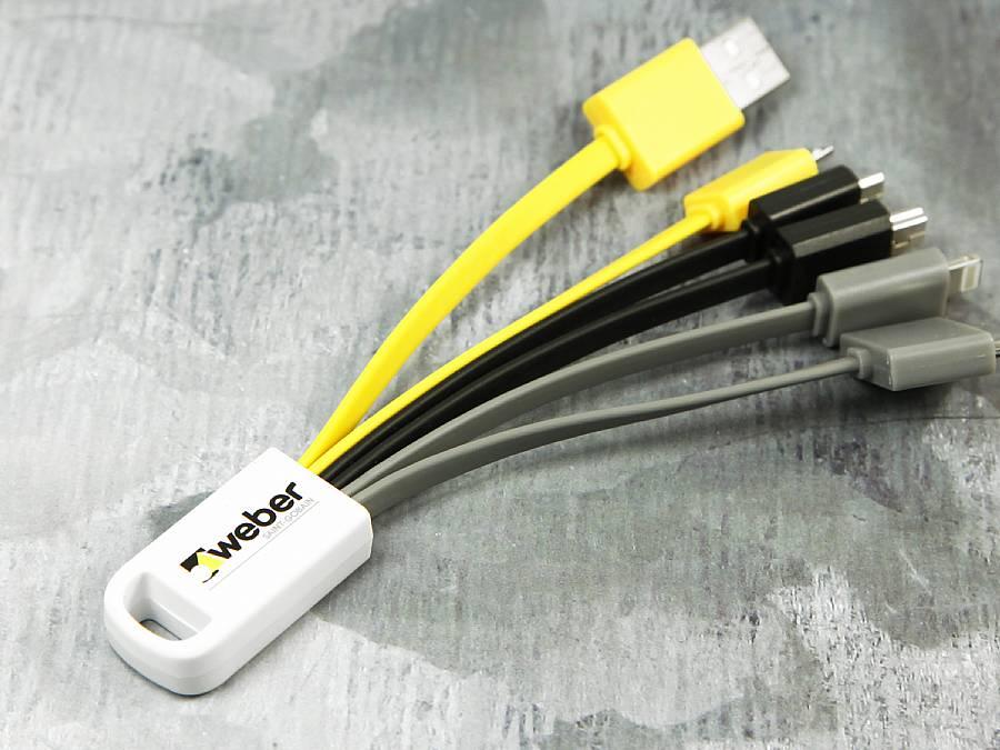 usb adapterkabel mit logo als werbegeschenk gelb