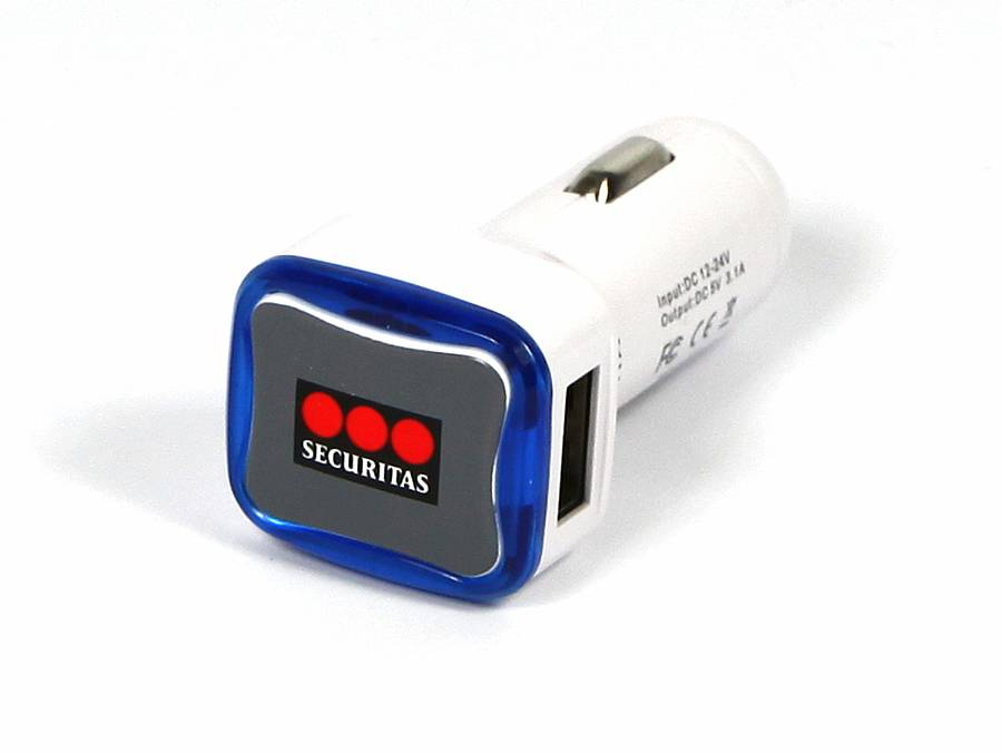 usb car charger autoladegerät zigarettenanzuender weiss blau logo
