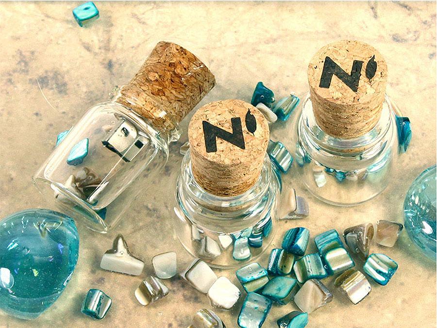 USB Stick Flaschenpost Kork Glas Kristall Fotografen graviert
