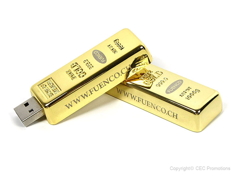 fuenco usb-stick gold goldbarren graviert logo gravur golden