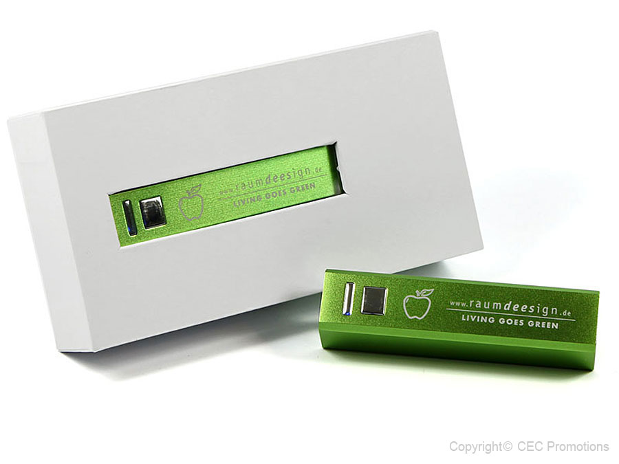 green power bank square gravur engraving logo package