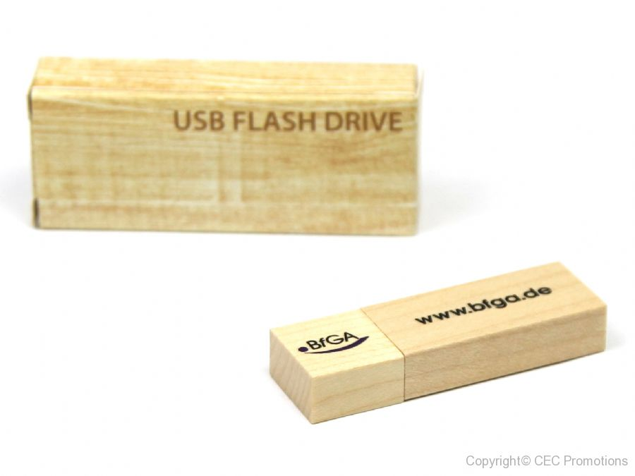 usb stick holz natur hell logo verpackung