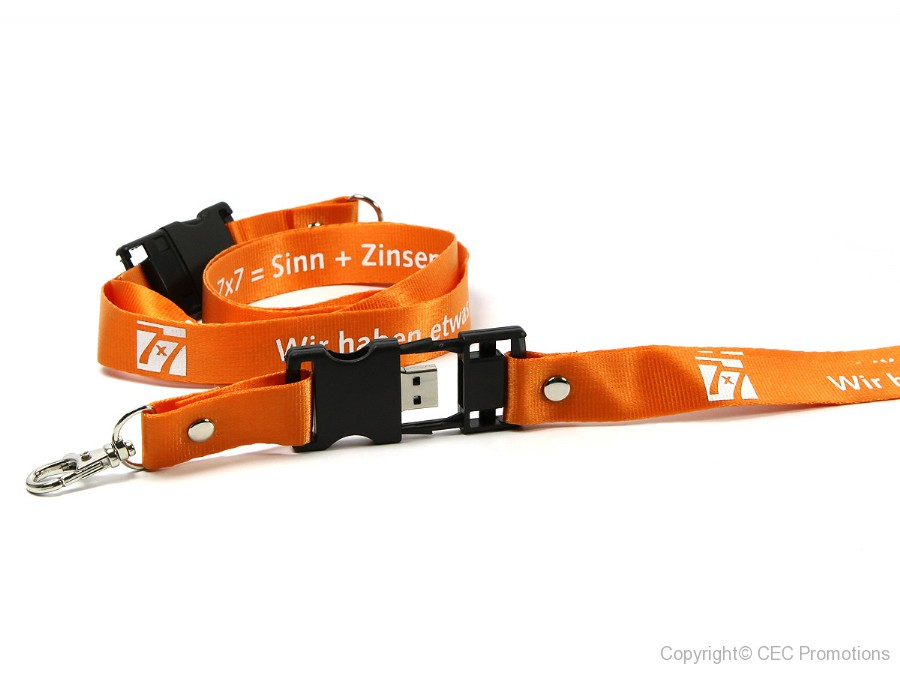 usb stick lanyard umhängeband messe logo weiss orange