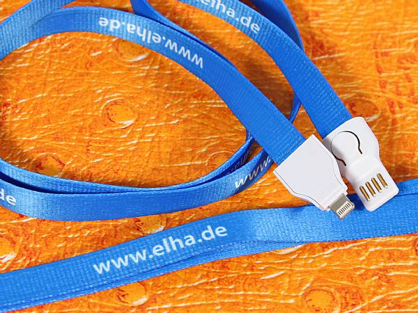 2 in 1 lanyard adapterkabel ladekabel band kabel logo
