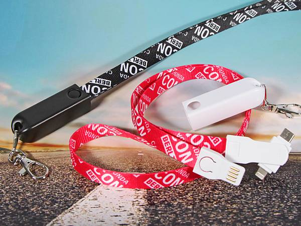 3 in 1 lanyard band kabel ladekabel werbung logo