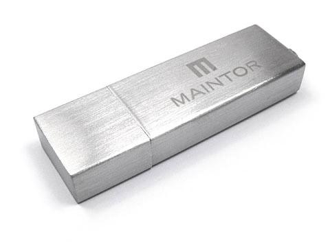 Alu-11 USB-Stick silber matt graviert Maintor, Alu.11