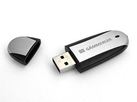Alu USB-Stick mit Firmenlogo graviert, Alu.03