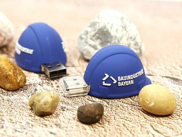Bauhelm USB Stick Helm blau Bauindustrie logo.JPG