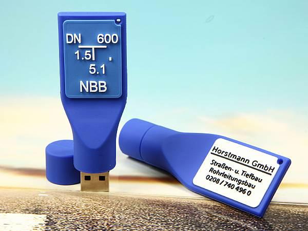 Blauer USB Stick Schild Wasserversorgung Werbegeschenk