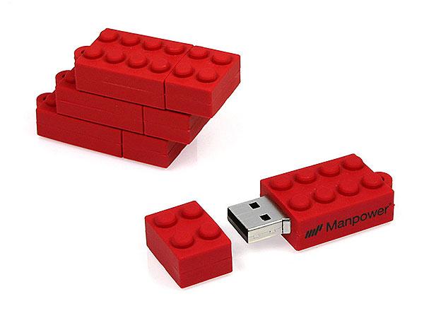 PVC USB Stick Brick, Bausteinform, ähnlich Lego