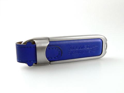 Edler Leder USB-Stick blau m Praegung, Leder.02