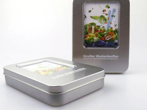 Geschenk-Verpackung graviert sichtfenster, M01 Eckige Metallbox