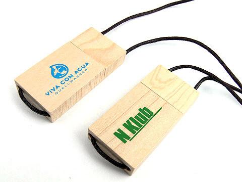 Holz-05 USB-Stick hellbraun bedruckt band, deckel, Metall.09