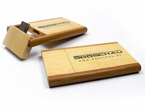 Holz-20 USB-Stick gross braun bedruckt, Holz.20