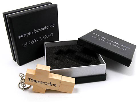 Holz-23 USB-Stick Kreuz Bestatter braun, Holz.23