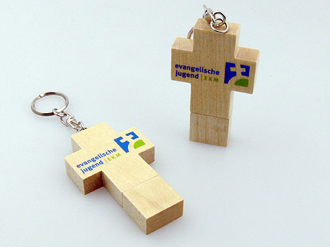 Holz-Kreuz USB-Stick Kirche ev-Jugend Aufdruck, Holz.23