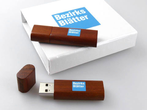 Holz-USB-Stick dunkel edel bedruckt Box, Holz.02