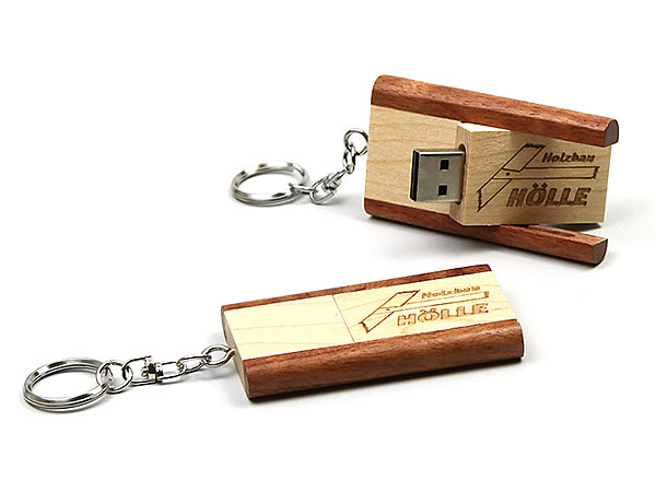 Holz graviert USB Stick Holzbau Hölle Schlüsselanhänger