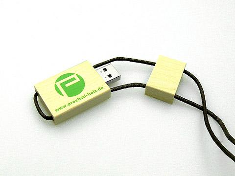 Holz USB-Stick hellbraun band green logo, Holz.05