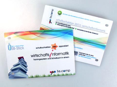 Kunststoff-Karte USB-Stick gelocht bedruckt, USB plastic Card