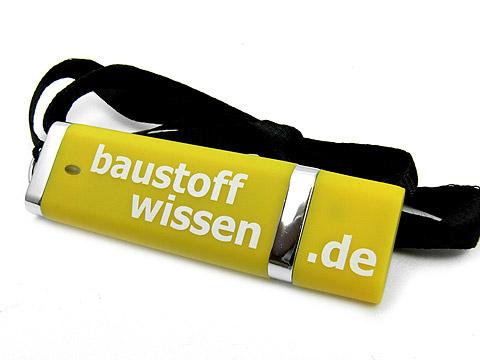 Kunststoff-USB-Stick gelb Werbegeschenk, Kunststoff.10