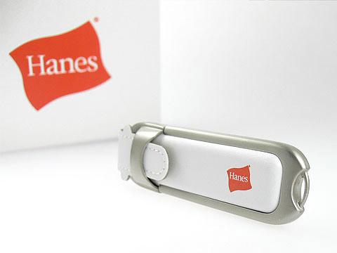 Leder-USB-Stick Hanes Logo Werbeartikel, Leder.02