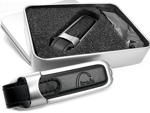 Leder-USB-Stick praegung schwarz edel, Leder.02