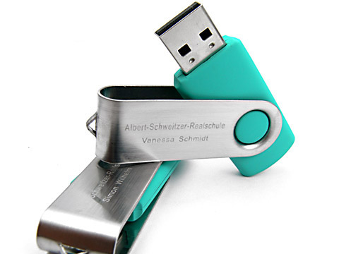 Metall-01 USB-Stick swing tuerkis graviert, Metall.01