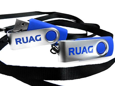 Metall-USB-Stick blau mit Band Firmenlogo, Metall.01, famous,