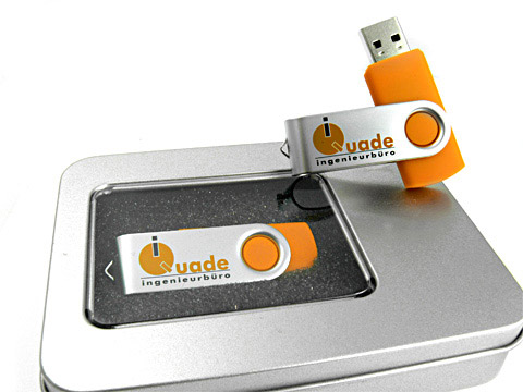 Metall Swing USB-Stick buegel orange logo, Metall.01