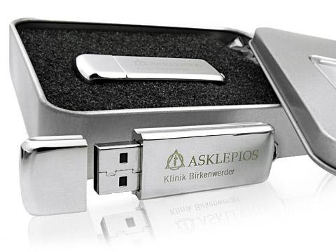 Metall USB-Stick Klinik graviert mit Dose, Metall.13