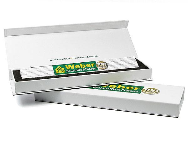 Meterstab Zollstock Verpackung Box Aufdruck Digitaldruck Geschenkbox