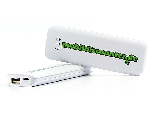 Power Bank Ladegerät mobil logo aufdruck discount, weiß