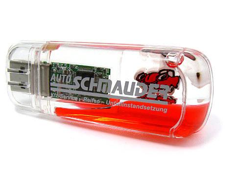Fun USB-Stick aus transparentem Kunststoff m. Flüssigkeit, USB-Liquid.01